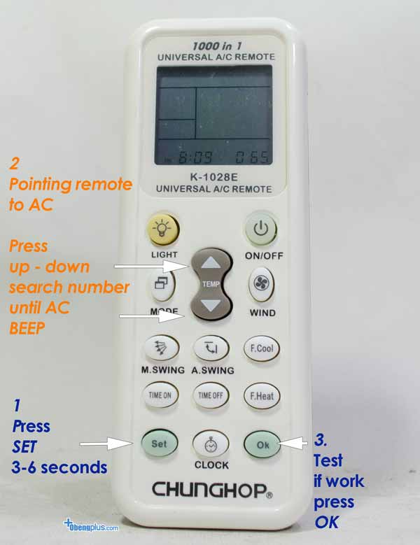 Chunghop K 1028E Universal Remote AC setting first time