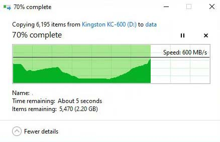 Test speed KIngston KC600