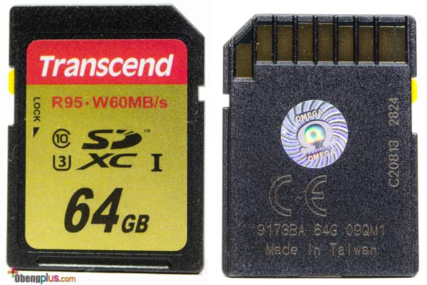 Transcend Ultimate 633x SDXC UHS-I U3 back and front SDcard