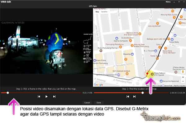 Menyamakan data GPS dan video
