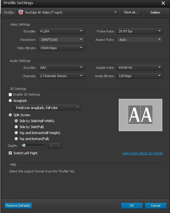 Fleksibel setting output untuk frame rate bitrate audio resolusi video