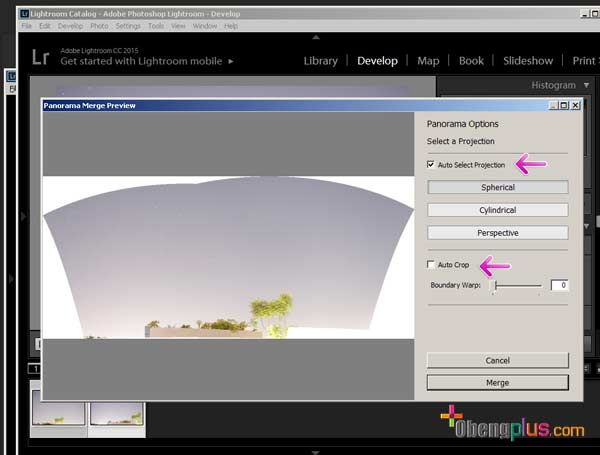 Setting foto panorama di Lightroom