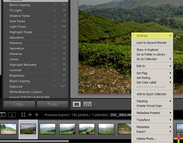 lightroom how to copy develop settings