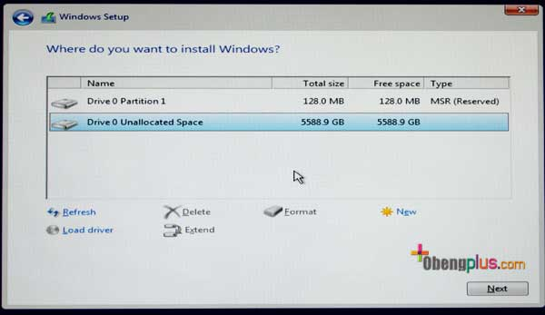 Select disk GPT from Windows Installer