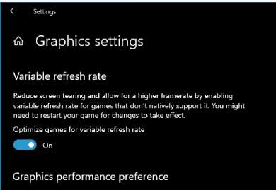 Setting Windows 10 VRR Variable Refresh Rate