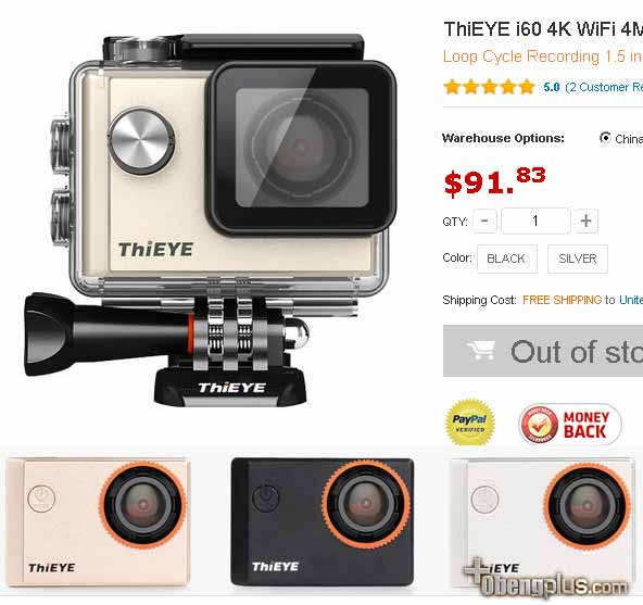 Camera ThiEYE i60 4K WiFi resolusi 4K murah 3840x2160 pixel