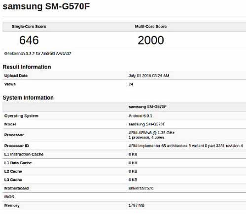 Samsung Galaxy On5 dengan Exynos 7570 2GB RAM
