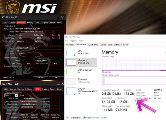 Motherboard Intel Z390 dengan RAM 128GB