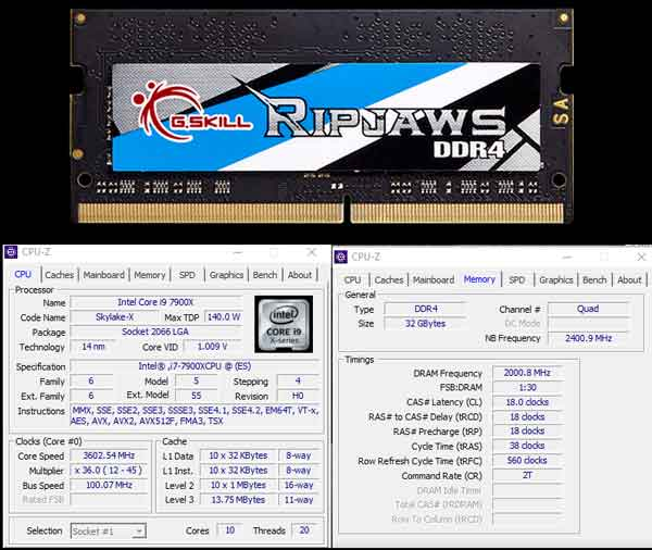 Gskill Ripjaws  DDR4 SODIMM 400MHz CL 18-18-18-38 32GB