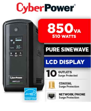 UPS Sine Wave Cyber Power CP850PFCLCD PFC