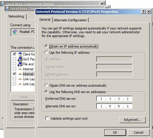 DCara setting DNS 1.1.1.1 di Windows PC