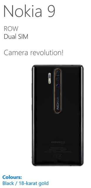 Nokia 9 triple camera sensor 41MP Snapragon 845