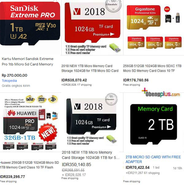 Memory card palsu 1TB China