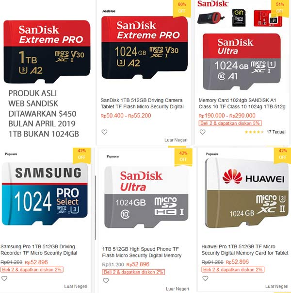 Memory card palsu 1TB fake SDXC China