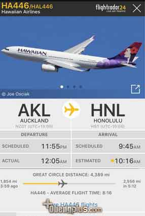 Pesawat Hawaiian Airlines HA446 Time Travel