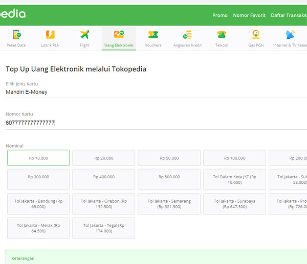 Isi saldo eMoney via online Tokopedia