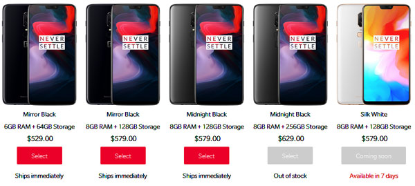 Harga Oneplus 6 Mirror Black dan Midnight skin Snapdragon 845