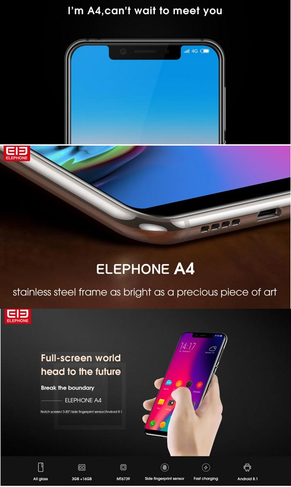 Elefone A4 Mediatek MT6739 disain iPhoneX untuk entry level Android smartphone
