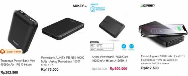 Model power bank dan harga