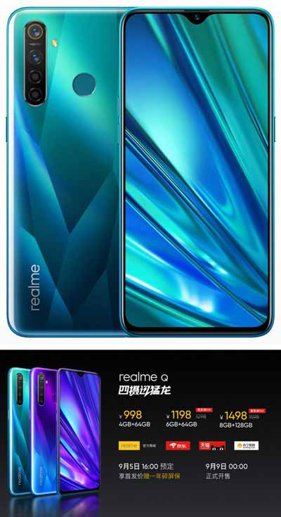 Realme Q Snapdragon 712 quad camera di sub 100 dollar